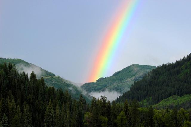 a dawn rainbow